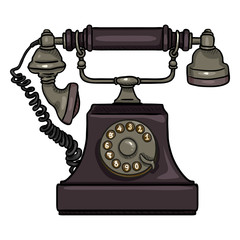Vector Cartoon Purple Old Vintage Telephone. Retro Rotary Phone