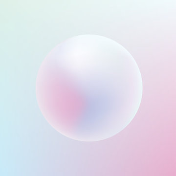 Soft pastel colored gradient sphere floating on a Holographic pink and blue background