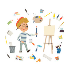 Artist Boy drawing and painting picture with art tools, and easel on white background. Children art and design school concept. Cartoon illustration in flat style