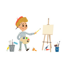 Artist Boy drawing and painting picture with brush and palette on the easel. Children art and design school concept. Cartoon illustration in flat style