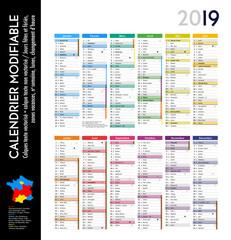 Calendrier 2019 sur 12 mois MODIFIABLE avec calendrier scolaire COMPLET, calques textes vectorisés et non vectorisés