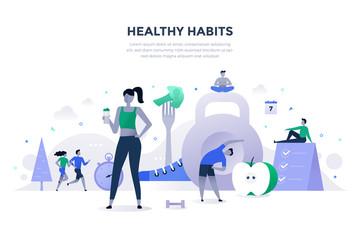 Fototapeta Healthy Habits Flat Concept obraz