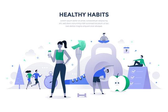Healthy Habits Flat Concept