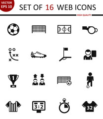 Football. Set of 16 high quality web icons