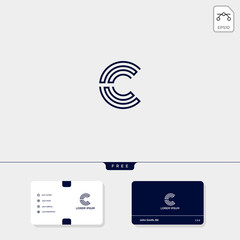Initial C, CC outline creative logo template and business card design template include. vector illustration and logo inspiration