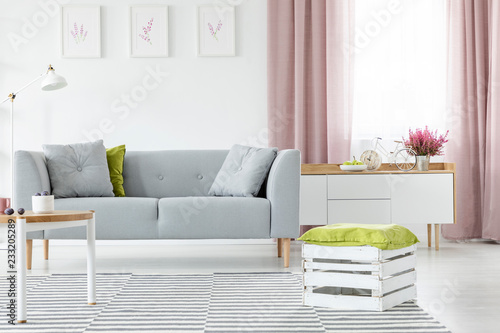 Astonishing Wooden Box With Olive Green Pillow On Striped Carpet In Beatyapartments Chair Design Images Beatyapartmentscom