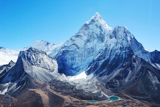 Mountain peak Everest. Highest mountain in the world. National Park, Nepal.