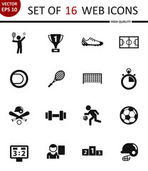 Sport. Set of 16 high quality web icons