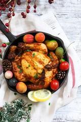 Homemade Cornish Hen roast / Thanksgiving Christmas dinner on holiday frame