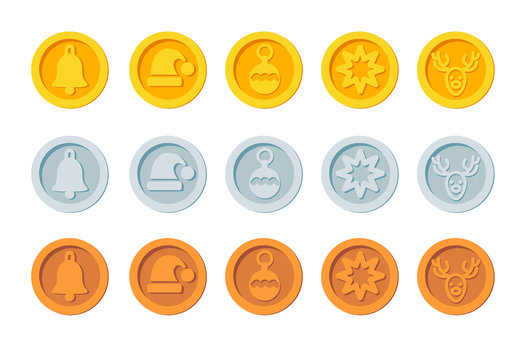Crypto currency Christmas winter new year holiday coins golden, silver and bronze vector set