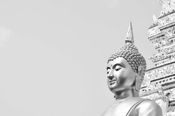 Printed roller blinds Buddha Buddha statue in Thailand temple - monochrome