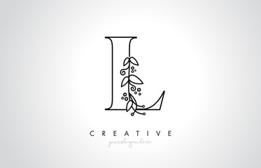 L Letter Logo With Organic Monogram Plant Leafs Detail and Circle Design