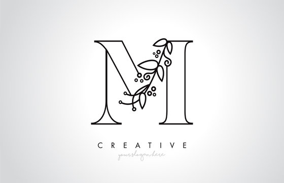 M Letter Logo With Organic Monogram Plant Leafs Detail and Circle Design