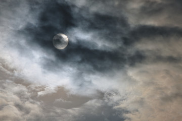 Dramatic cloudy sunset. the sun as the moon
