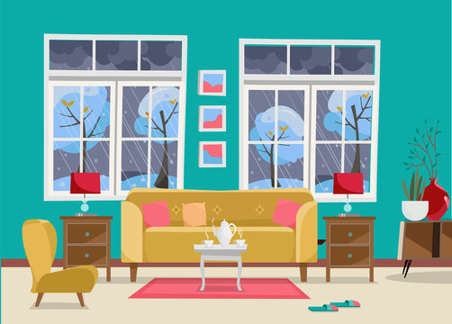 Living room with Furniture-sofa with table, nightstand, paintings, lamps, vase, carpet, porcelain set, soft chair in room with two large window.Outside winter landscape with trees. Flat cartoon vector