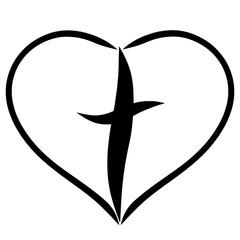 Christian cross in heart, faith in God, salvation