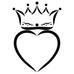 Heart and crown above him, romance, or faith