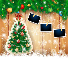 Christmas background with fir, tree and photo frames