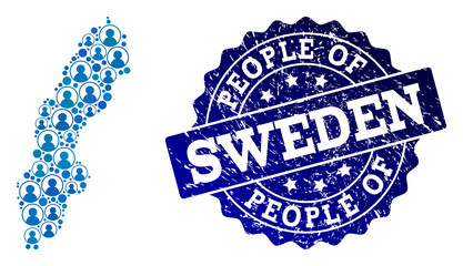 People collage of blue population map of Sweden and rubber seal. Vector seal with unclean rubber texture. Mosaic map of Sweden designed with rounded users. Flat design for political posters.