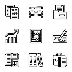 Finance icon set. Outline set of 9 finance vector icons for web design isolated on white background