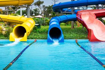 water slides in aqua park