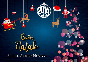 Italian Christmas and Happy New Year greeting card