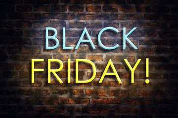 Black Friday. Neon inscription on the background of an old brick wall. Business, sales.