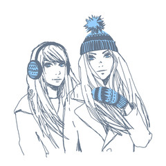 Beautiful young girls in winter. Vector hand-drawn sketch.