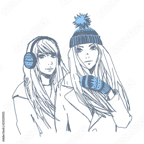 ef118925d5c7 Beautiful young girls in winter. Vector hand-drawn sketch.