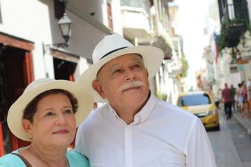 Hispanic senior couple with copy space