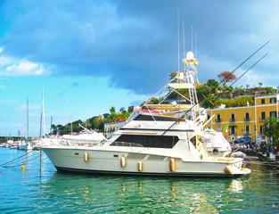 Yachts in porto casamicciola terme Ischia island. Mediterranean sea, Italy