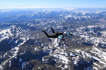 Wingsuti skydiving over Norway