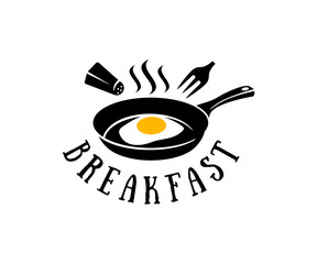Frying pan with fried eggs, salt cellar and fork, logo design. Breakfast, restaurant, snack bar, fast food, organic and natural food, vector design and illustration