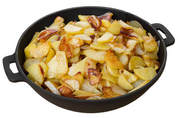 homemade fried potatoes in a pan isolated on white