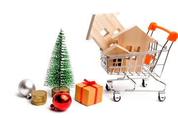 Wooden houses and Christmas tree. Christmas Sale of Real Estate. New Year discounts for buying house. Purchase apartments at a low price. Winter resort and vacation. Holiday discounts. isolated