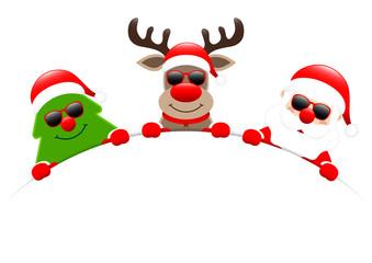 Tree, Rudolph & Santa Sunglasses Round Banner