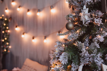 christmas room interior design xmas wall decorated by lights resents gifts toys copy space holiday concept
