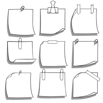 Collection of various note papers. Hand drawn doodle notepaper for messages set. Vector illustration