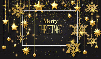 Merry Christmas and Happy New Year poster with golden shiny stars and snowflakes.
