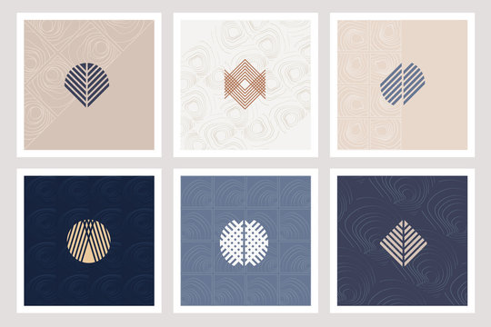 Set of six elegant geometric logo shapes in abstract forms isolated on cards with subtle patterns