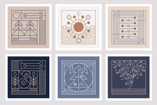 Six elegant thin line illustrations in Art Deco style inspired by autumn and winter seasons