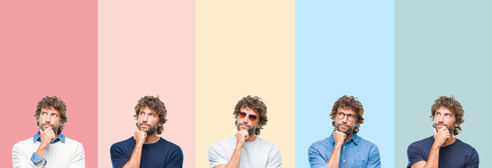 Collage of young casual man over colorful stripes isolated background with hand on chin thinking about question, pensive expression. Smiling with thoughtful face. Doubt concept.