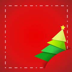 Vector : Paper christmas tree on red paper card