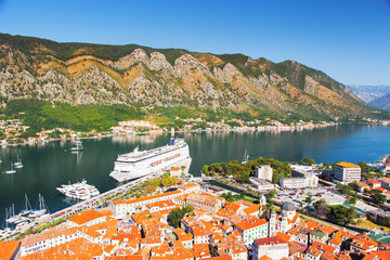 Fototapete - Great view of Kotor bay (Boka Kotorska) in sunny day.