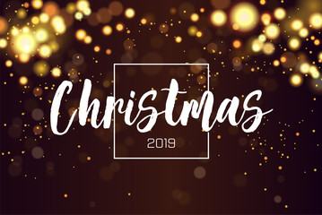 Christmas background 2019 with golden magic bokeh sparkle glitter lights. Abstract defocused circular New Year background design. Elegant, shiny, metallic gold background. EPS 10.