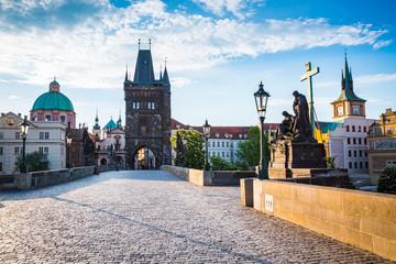Charles bridge on the river Vltava, Prague, Czech Republic.