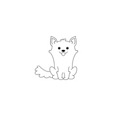 Cute and funny puppy. Vector illustration isolated on white background.