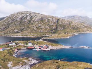 Dock on shoreline of picturesque island