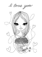black and white vector cute fashion sketch illustration with a beautiful girl holding a basket full of flowers, 'I love you' lettering and hearts for saint valentine's day, holiday and greeting cards.