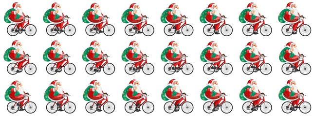 Santa Claus cycling animation sprite sheet, Can be used for GIF animation